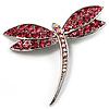 Classic Pink Swarovski Crystal Dragonfly Brooch (Silver Tone)