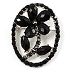 Daisy In The Oval Frame Jet-Black Crystal Brooch (Silver Tone)