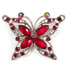 Magenta Diamante Butterfly Brooch (Silver Tone)