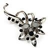 Black Crystal Floral Brooch (Silver Tone)