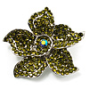 Small Olive Diamante Flower Brooch (Silver Tone)