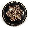 Vintage Button Shape Floral Brooch (Bronze Tone)