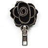Black Fabric Rose Zipper Brooch (Antique Silver)