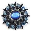 Blue Crystal Wreath Brooch (Silver Tone) [B01234]
