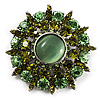 Olive Green Crystal Wreath Brooch (Silver Tone) [B01239]