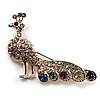 Multicoloured Crystal Peacock Brooch (Pink Gold Tone)