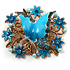 Aqua Blue Enamel Crystal Flower &amp; Butterfly Brooch (Gold Tone)