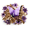 Light Purple Enamel Crystal Flower & Butterfly Brooch (Gold Tone)