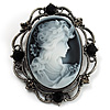 Vintage Filigree Diamante Cameo Brooch (Gun Metal Tone)