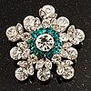 Swarovski Crystal Star Brooch (Clear & Turquoise Coloured)