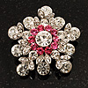 Swarovski Crystal Star Brooch (Clear & Pink)