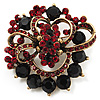 Burgundy Red &amp; Jet-Black Diamante Corsage Brooch (Antique Gold Tone)