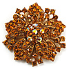 Victorian Corsage Flower Brooch (Gold &amp; Amber) [B01263]