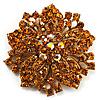 Victorian Corsage Flower Brooch (Gold & Amber) [B01263]