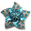 3D Enamel Crystal Flower Brooch (Aqua & Light Blue)
