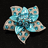 3D Enamel Crystal Flower Brooch (Aqua &amp; Light Blue)