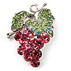 Swarovski Crystal Bunch Of Grapes Brooch (Pink &amp; Light Green, Silver Tone)