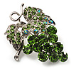 Swarovski Crystal Bunch Of Grapes Brooch (Light Green, Silver Tone)