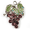 Swarovski Crystal Bunch Of Grapes Brooch (Lilac &amp; Light Green, Silver Tone)