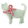 Cat With Crystal Bow Plastic Brooch (Pale Geen & Light Pink)