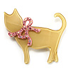 Cat With Crystal Bow Plastic Brooch (Pale Yellow & Light Pink)