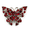 Hot Red Crystal Filigree Butterfly Brooch (Silver Tone)