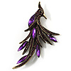 Purple Exotic Crystal Fire-Bird Brooch