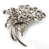 Silver Plated Crystal Grapes Brooch