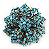 Victorian Corsage Flower Brooch (Antique Gold & Aqua Blue) [B01292]