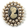 Simulated Pearl Crystal Cameo Brooch (Silver Tone)