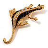 Gold Plated Crystal Enamel Lizard Brooch