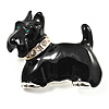 Black Crystal Enamel Scotty Dog Brooch (Silver Tone)