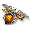 Art Deco Bee Brooch (Silver Tone)
