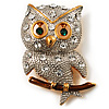 Cute Baby Owl Brooch (Gold&Silver Tone)