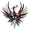 Huge Multicoloured Diamante Enamel Fire-Bird Brooch (Silver Tone)