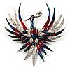 Huge Multicoloured Diamante Enamel Fire-Bird Brooch (Silver Tone)