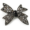 Gun Metal Filigree Crystal Bow Brooch