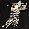 Stylish Butterfly, Crystal &amp; Pearl Charm Pin Brooch (Silver Tone)