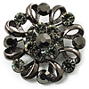 Vintage Crystal Floral Brooch (Black &amp; Gun Metal)