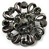 Vintage Crystal Floral Brooch (Black & Gun Metal)