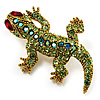 Small Green Swarovski Crystal Lizard Brooch (Gold Tone Metal)