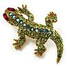 Small Green Swarovski Crystal Lizard Brooch (Gold Tone Metal)