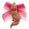 Swarovski Crystal Magnificent Queen Cat Brooch/ Pendant (Gold & Iridescent Pink)