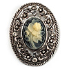 Vintage Floral Crystal Cameo Brooch (Antique Silver Finish)