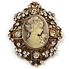 Heiress Filigree 'Cameo' Brooch (Antique Gold Finish)