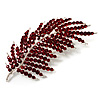 Statement Crystal Leaf Brooch (Burgundy Red)