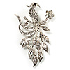 Clear Crystal Peacock Brooch (Silver Tone)