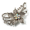 Dazzling Clear Crystal Flower Brooch (Silver Tone)