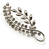 Silver Plated Decorative Crystal Leaf Brooch