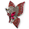 Exotic Magenta Diamante Butterfly Brooch (Gun Metal Finish)